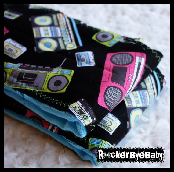 ONE Punk Rock Boom Box Burp Rag or Cloth diaper for your baby girl boy on turquoise hand dyed burp rag
