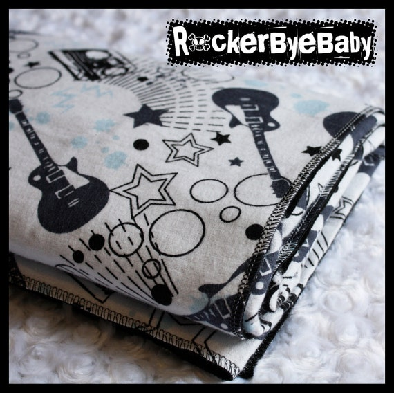 RockerByeBasics Baby or Toddler Blanket Black Blue Black and White Stars Guitars and Boom boxes with black flannel boys 36x42