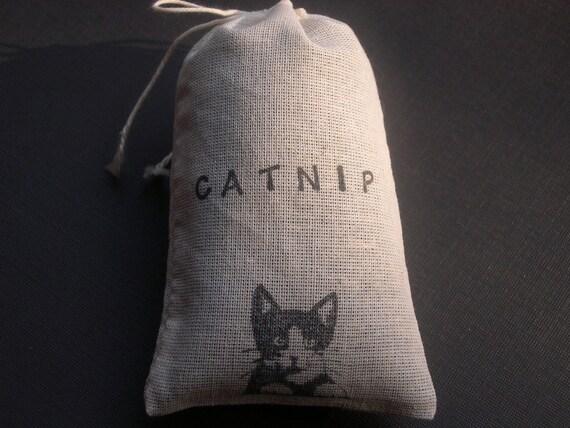 Organic Catnip (Cat Nip) Loose in a Hand Stamped Bag Cat Feline