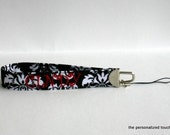Personalized Point and Shoot Black and White Damask wrist Camera strap