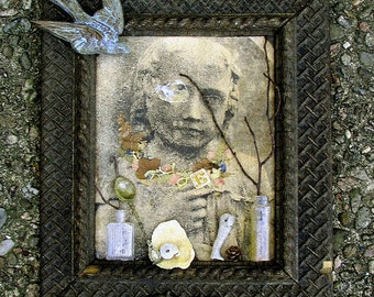 Ghost Child Photo and Found Object Assemblage