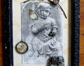 photo collage Victorian gravestone assemblage Eliza: My Faery Child