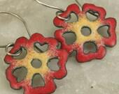 RED Flower Earrings Copper Enamel Colorful BoHo Modern and Mod