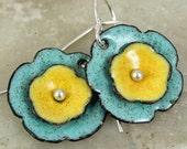 Sunny Yellow Robins Egg Blue Artisan Made Floral Earrings Copper Enamel