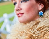 Copper Enamel Gypsy Earring Denim Ethnic with Czech Beads Boho Chic