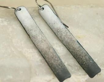 White to Gray Neutral Tones Copper Enamel Long and Skinny Dangles Long Skinny