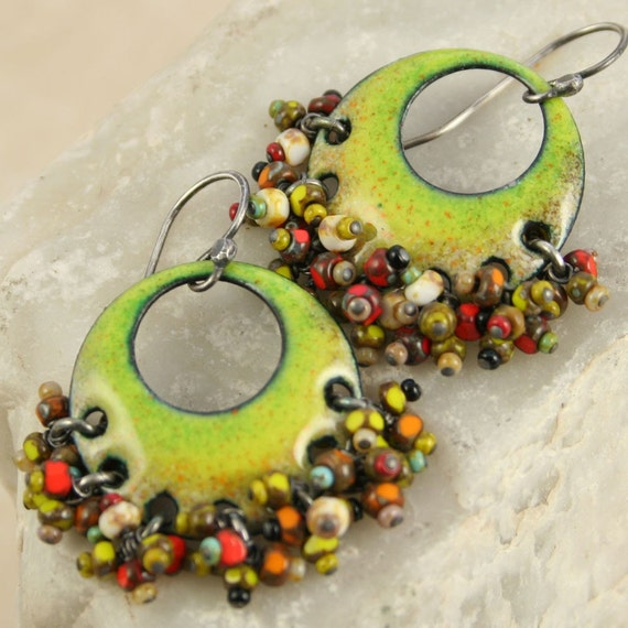 Gypsy Earring - Chartreuse - Ethnic and Organic - Kiln Fired Copper Enamel with Czech Beads