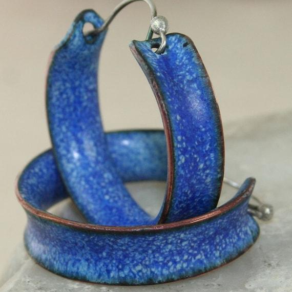 Hoop Earrings Blue Jeans Copper Enamel