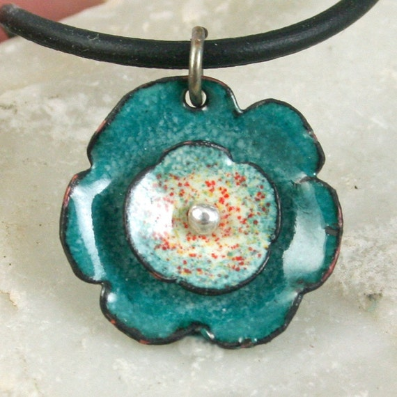 Teal Flower Necklace Copper Enamel Flower