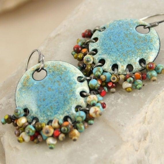 Gypsy Earring Denim Ethnic Copper Enamel with Czech Beads Boho Chic
