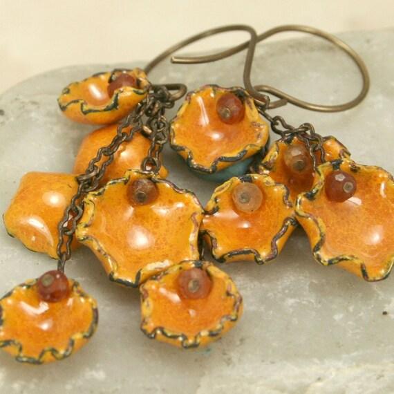 Long Dangling Copper Enamel Earrings Mustard and Garnet Dangles Autumn