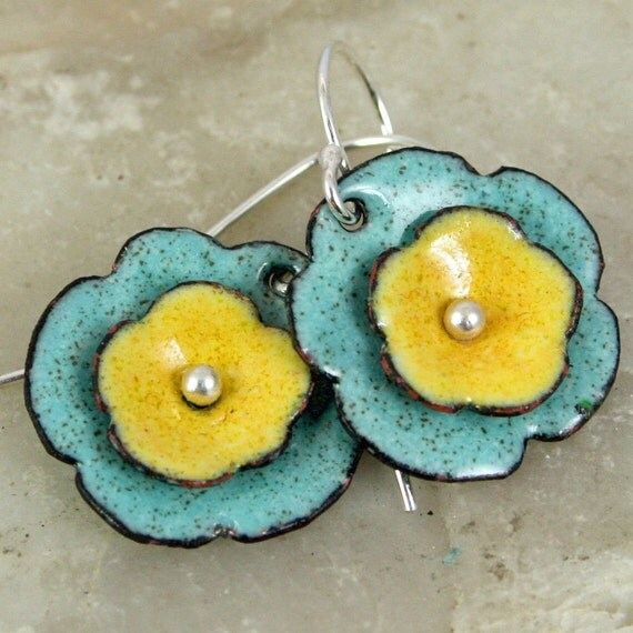 Sunny Yellow Robins Egg Blue Artisan Made Floral Earrings Copper Enamel