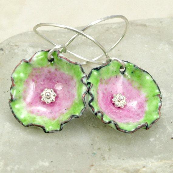 Pink Lime Copper Enamel Earrings Flower Colorful