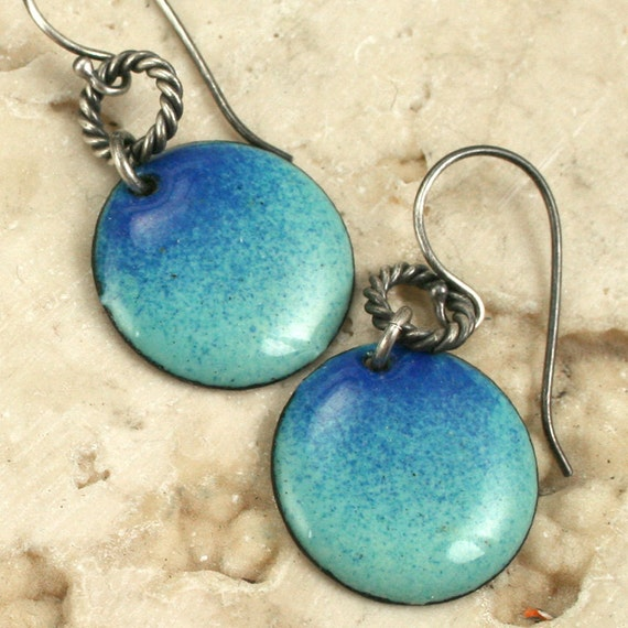Blended Sky Blue Earrings Copper Enamel