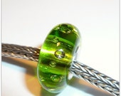 Luccicare Lampwork Bead - 8 CZ Lime Green - Lined with Sterling Silver