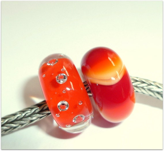 Luccicare Lampwork Beads - Set of Two - Orange Dillo and Diamonds - Lined with Sterling Silver