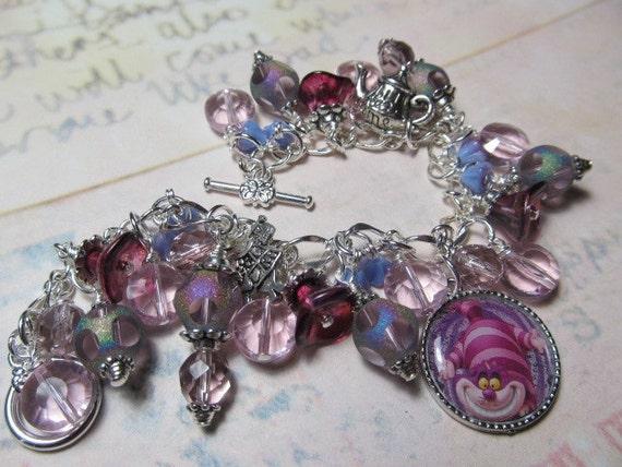 Cheshire Cat  Alice in Wonderland   Altered Art Charm Bracelet  ooak ebsq