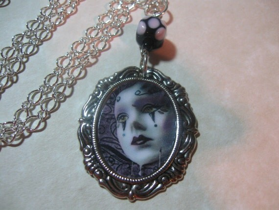 MACABRE CLOWN ALTERED ART CHARM NECKLACE  ZNE OOAK