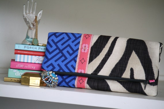 Black Zebra and cobalt geometrics oversized foldover clutch - The Kate clutch