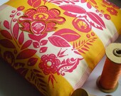 Embroidered Red and Yellow Pillow Cover in Folk Floral