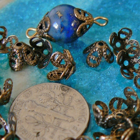 50 BRASS 4 Pedal Flower Caps for Beads, Pearls, etc.  Vintage. LAST ORDER.