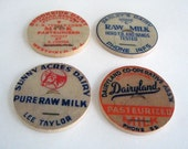 Vintage Milk Caps Labels Magnets for the fridge by BululuStudio