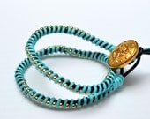 Chan Luu Turquoise Double Wrapped Leather Bracelet