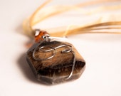 Whimsical Yellow Brown Tiger Eye. Natural Gemstone. Honey Bee. Wire Wrapped Pendant . FREE Ribbon Necklace.