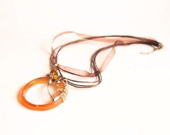Honey Caramel Brown. Agate Gemstone. Whimsical Swirls. Heart Summer Pendant. Free Ribbon Necklace Handamde by Bululu Studio
