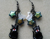 Lucky black cat earrings with moon and stars