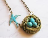 Bird Nest Necklace - gift for mother, family and newborns - Easter Gift, Mothers Day Gift