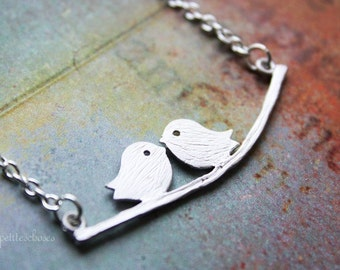 Love Birds - Birds on Branch Delicate Necklace - Dainty Jewelry / Gift for Her under 25usd