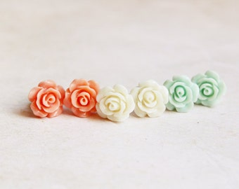 Rose Studs - Dainty Shabby Chic Earrings (1pair) - gift for her