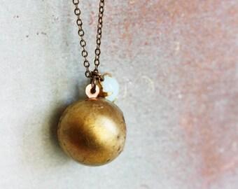 Vintage Ball Locket necklace - Boho Chic, Retro, Minimalist jewelry