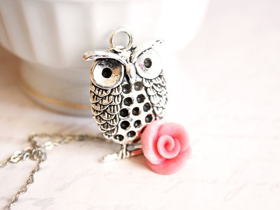 SALE - Owl and Rose Necklace