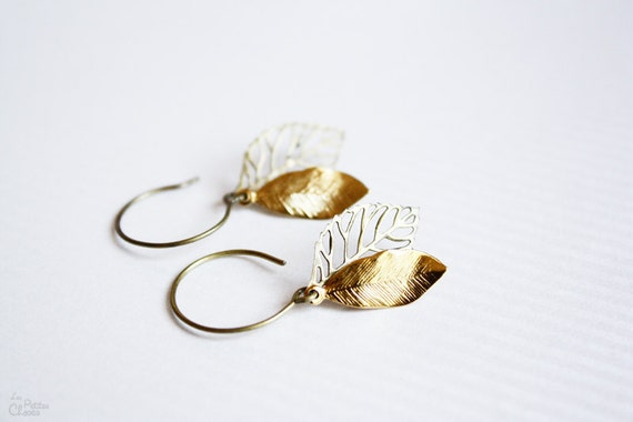 Leaves dainty boho chic earrings