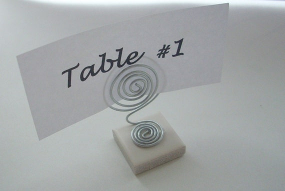 RESERVED - Mini Wire Place Card Table Number or Photo Holder with Silver Wire Swirl