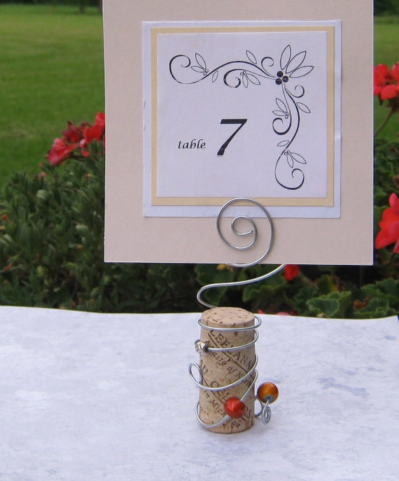 Wine Cork Wedding: RESERVED Wine Cork And Wire Table Card Holder For Weddings