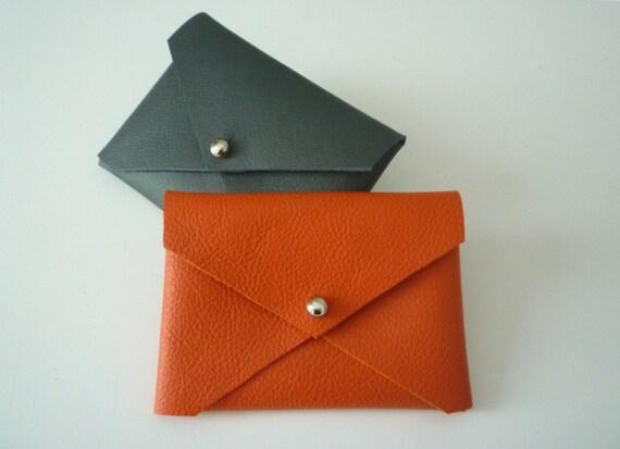 Handmade leather business card holder in Bright Orange