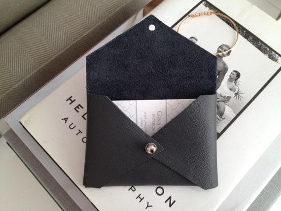 Slate Gray handmade leather business card holder