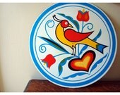 Distelfink Sign - Pennsylvania Dutch Round Wall Hanging - Jacob Zook - Heart Tulip and Gold Finch