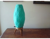 Textured Turquoise Mid Century Modern Table Top Lamp - Small Lamp