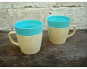 Turquoise Raffiaware Thermo-Temp Cup Pair