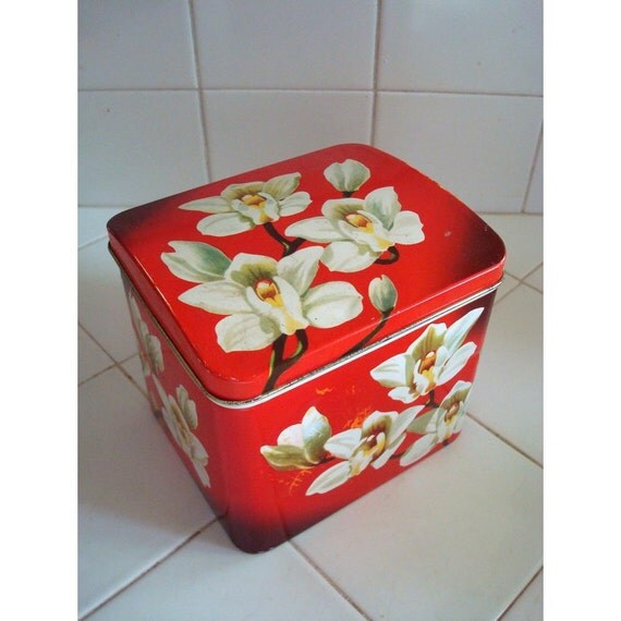 Beautiful Red with White Orchids Biscuit Tin  - Medium Storage Tin - Tea Tin