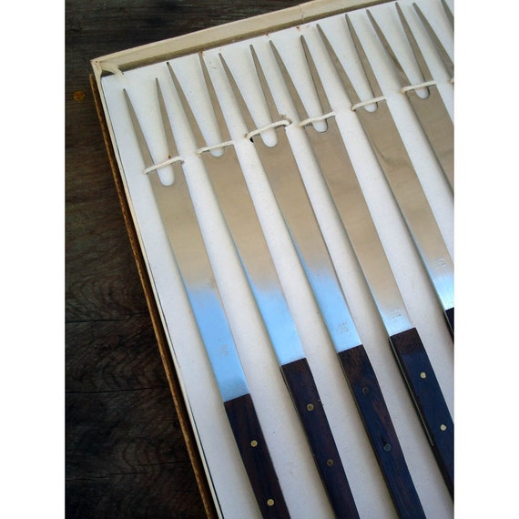 Mid Century Modern Fondue Forks - Set of 8 Teak Fondue Forks - Made in Japan