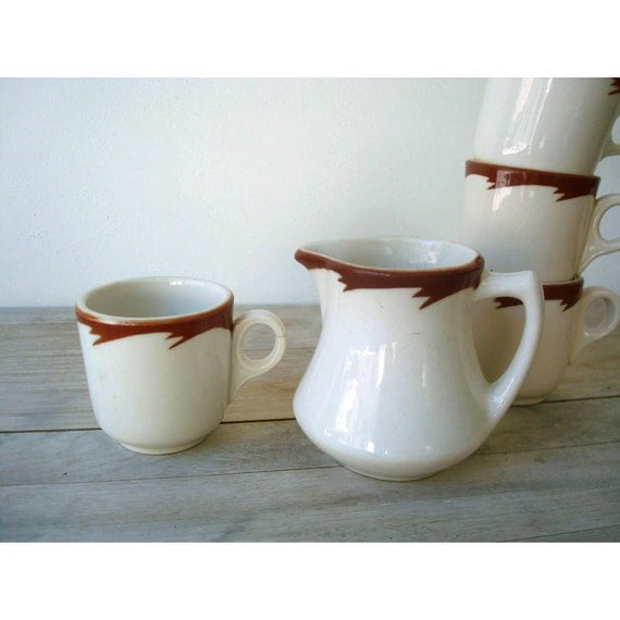 Espresso Cups and Creamer Set - 1950 Sterling Ceramics