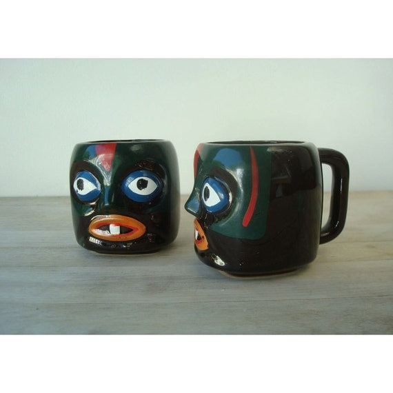Set of Two Victoria Ceramics Tiki Mugs - Tiki Cups