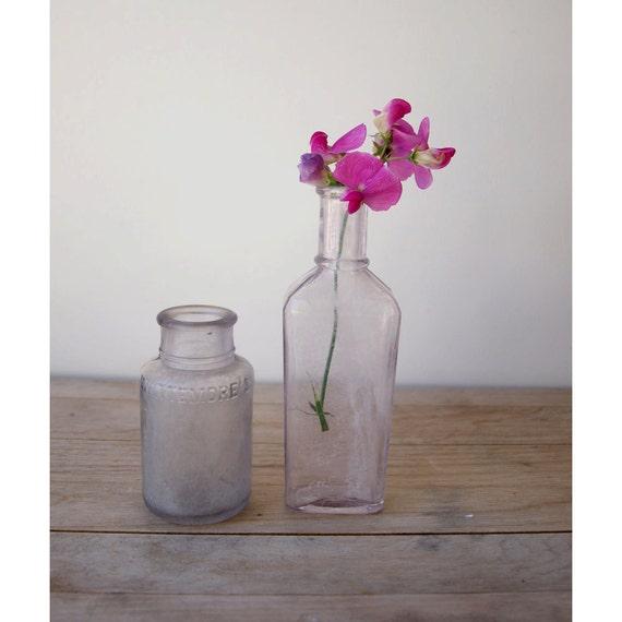 Antique Purple Bottles - Set of 2