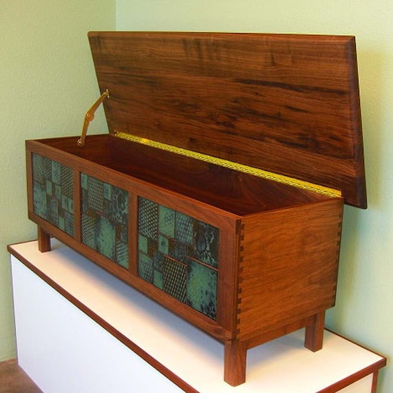 walnut filing cabinet bench with hunter green handmade by wooditis