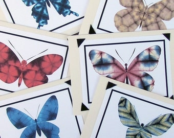 Shibori Butterfly Cards- Blank Set of 6